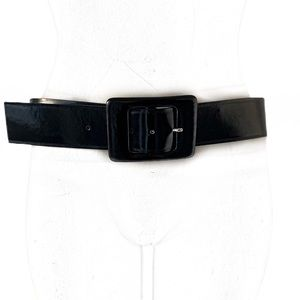 "Ann Taylor Accessories - ANN TAYLOR BLACK PATENT LEATHER 2"" WIDE BELT"